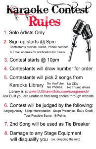 Karaoke Contest Rules